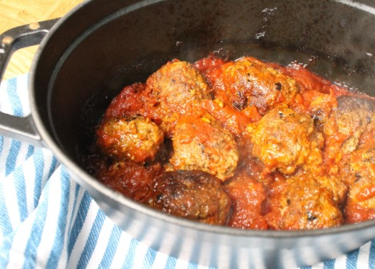Baked Pulpetti in tomatoes dauce